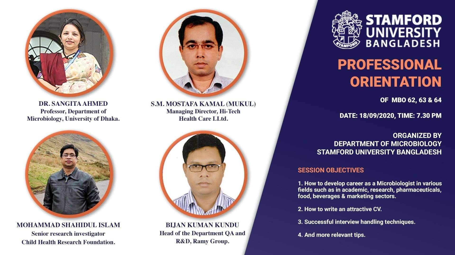 PROFESSIONAL ORIENTATION OF MBO 62, 63 & 64.